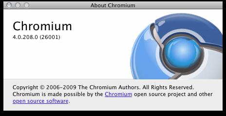 Chromiumインフォメーションウインドウ